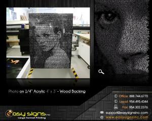 Photos mounted in plexiglass
