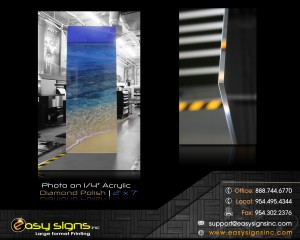 photo print and mounted behind acrylic